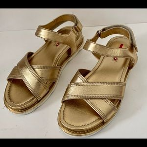 New Prada Gold Sandals Shoes Size 38